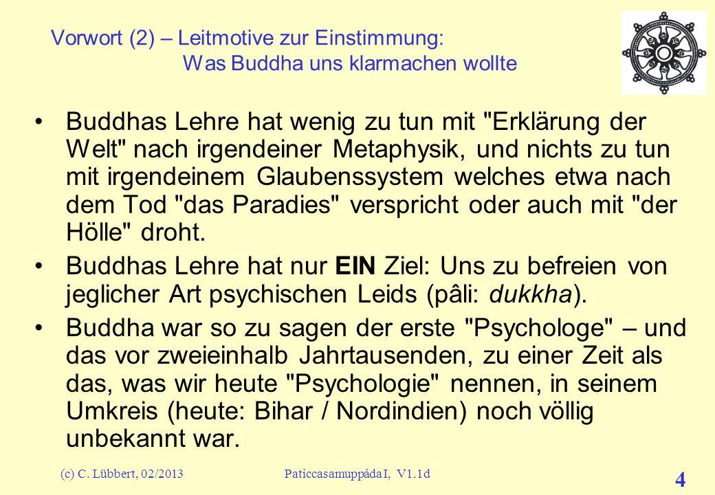 """(c) C. Lübbert, 02/2013Paticcasamuppâda I, V1.1d 3 Vorwort (1) – Leitmotive zur Einstimmung: """"Glaubt nichts ohne eigene Prüfung"""" Aus dem Kâlâma Sutta,"""