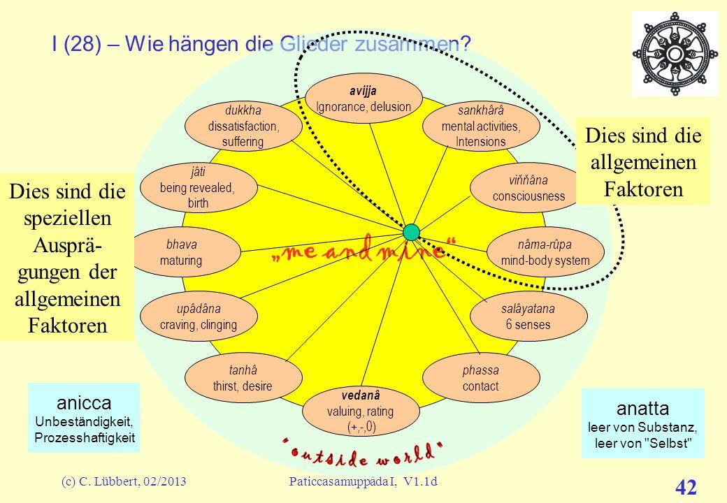 (c) C. Lübbert, 02/2013Paticcasamuppâda I, V1.1d 41 Mit allen Details (z.T. noch ausführlicher als hier dargestellt, vgl. D15) Mit einigen Details Zus