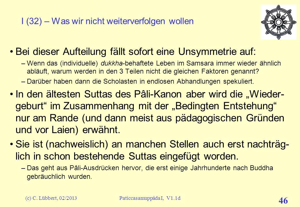(c) C. Lübbert, 02/2013Paticcasamuppâda I, V1.1d 45 I (31) – Was wir nicht weiterverfolgen wollen avijjâ Verblendung sankhârâ Tatabsichten nâma-rûpa G