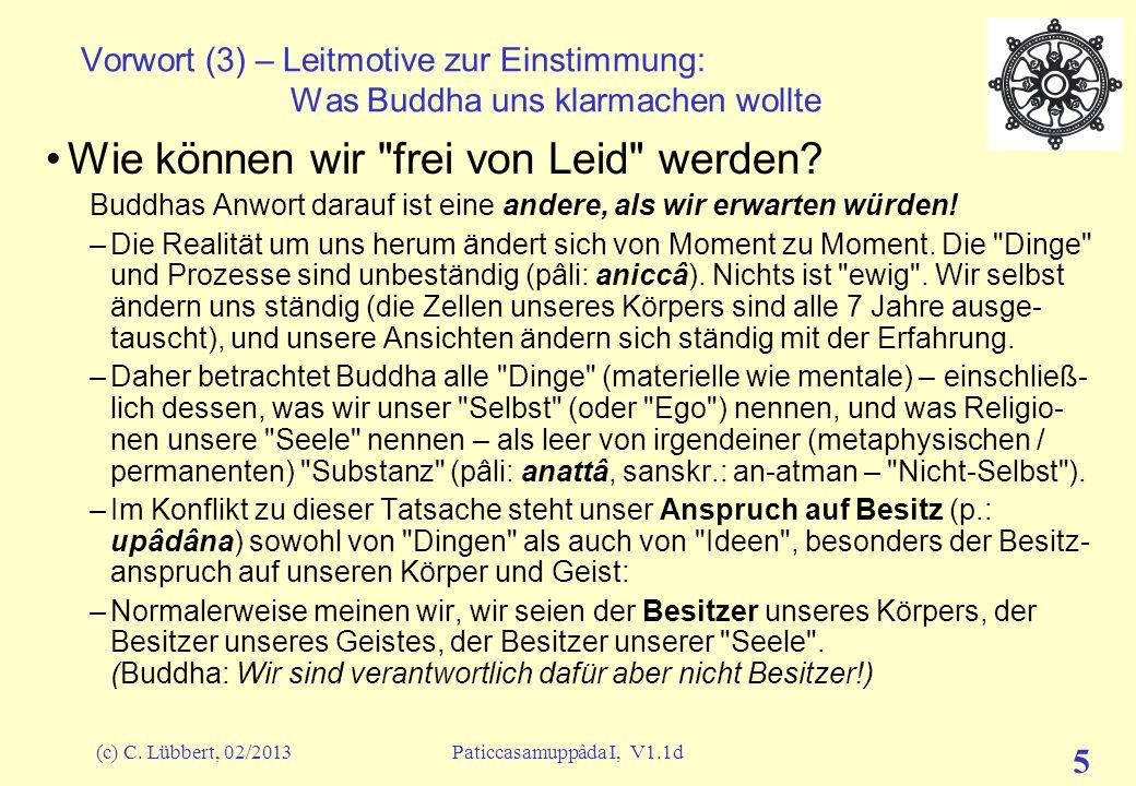 (c) C. Lübbert, 02/2013Paticcasamuppâda I, V1.1d 4 Vorwort (2) – Leitmotive zur Einstimmung: Was Buddha uns klarmachen wollte Buddhas Lehre hat wenig