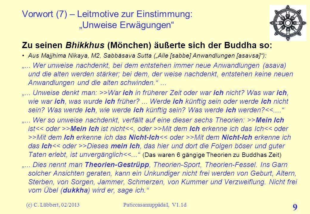"""(c) C. Lübbert, 02/2013Paticcasamuppâda I, V1.1d 8 Vorwort (6) – Leitmotive zur Einstimmung: """"Wiedergeburt"""" ?? Ein Unkundiger kommt bei diesem Dogma m"""