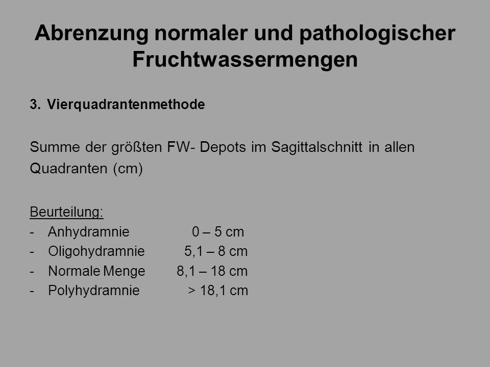 Abrenzung normaler und pathologischer Fruchtwassermengen 3.