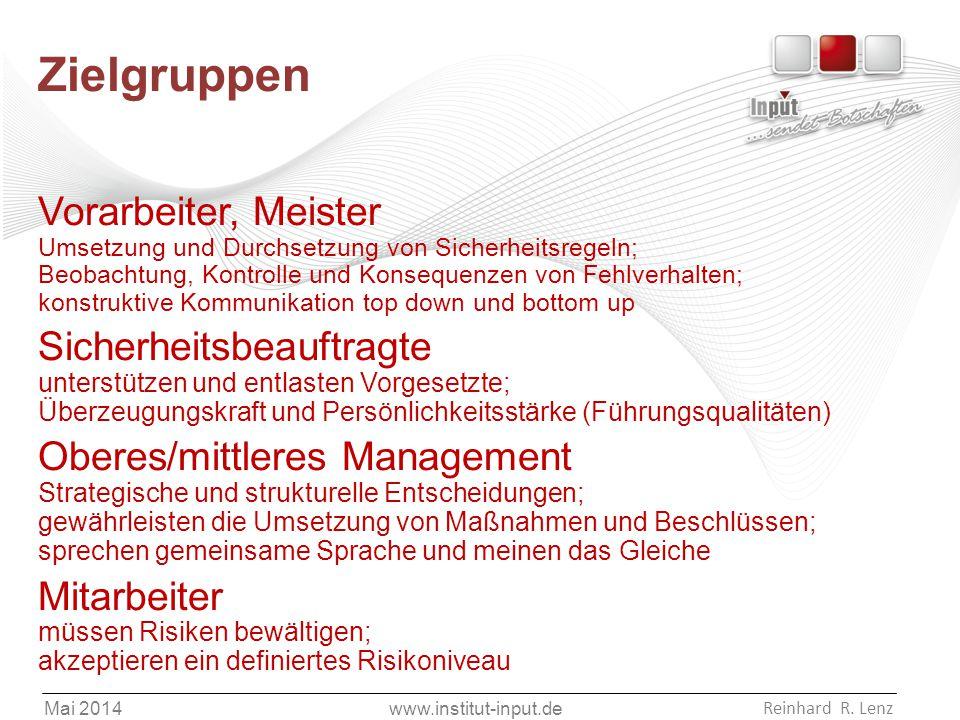 www.institut-input.de Reinhard R. Lenz Mai 2014 Zielgruppen Vorarbeiter, Meister Umsetzung und Durchsetzung von Sicherheitsregeln; Beobachtung, Kontro