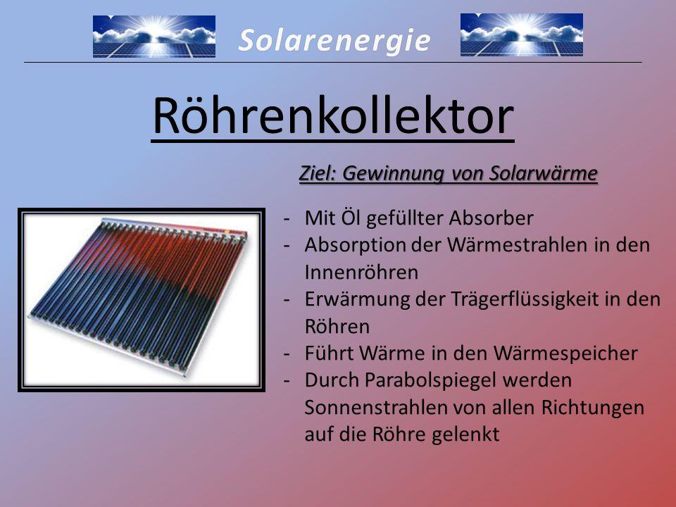 Solarenergie Röhrenkollektor -Mit Öl gefüllter Absorber -Absorption der Wärmestrahlen in den Innenröhren -Erwärmung der Trägerflüssigkeit in den Röhre