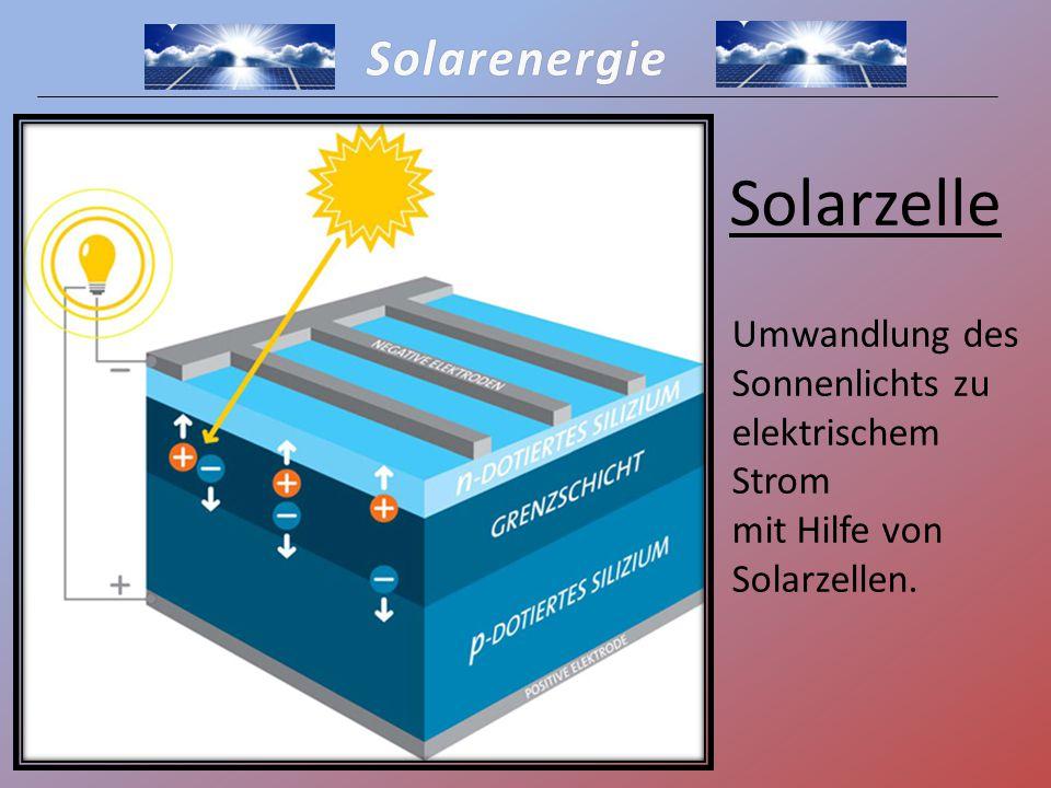 """Solarenergie Solarzelle -p(ositive)-Schicht und n(egative)-Schicht (Halbleiter) werden durch Dotierstoffe leitend gemacht -Elektrische Spannung durch Aufnahme von Lichtstrahlen (Photonen) -Trennung der negativ geladenen Elektronen von dem Atom -> frei beweglich im ganzen Festkörper -Entstehung von frei beweglichen """"Löchern - Elektronen fließen auf die negative Seite, """"Löcher auf die positive -Elektronen fließen zum Rückseitenkontakt, """"Löcher zum Vorderseitenkontakt Elektrischer Strom"""