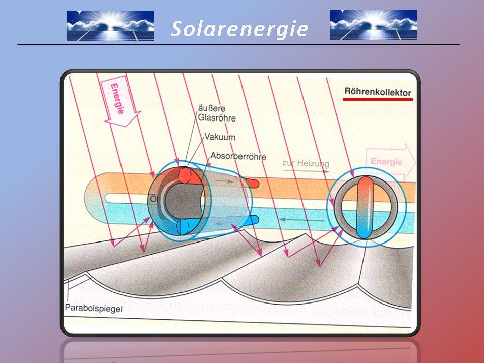 Solarenergie Röhrenkollektor -Mit Öl gefüllter Absorber -Absorption der Wärmestrahlen in den Innenröhren -Erwärmung der Trägerflüssigkeit in den Röhren -Führt Wärme in den Wärmespeicher -Durch Parabolspiegel werden Sonnenstrahlen von allen Richtungen auf die Röhre gelenkt Ziel: Gewinnung von Solarwärme