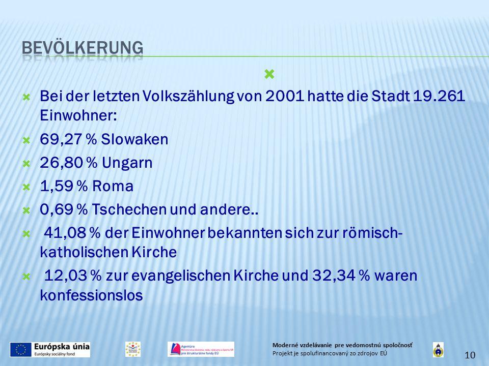  Bei der letzten Volkszählung von 2001 hatte die Stadt 19.261 Einwohner:  69,27 % Slowaken  26,80 % Ungarn  1,59 % Roma  0,69 % Tschechen und andere..