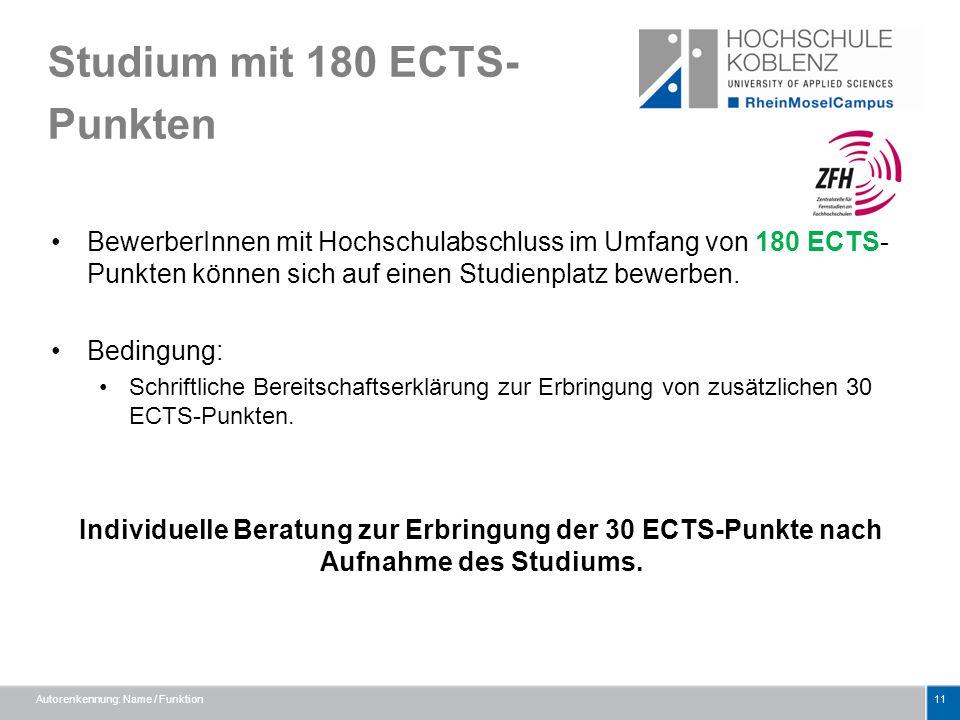 Studium mit 180 ECTS- Punkten BewerberInnen mit Hochschulabschluss im Umfang von 180 ECTS- Punkten können sich auf einen Studienplatz bewerben. Beding