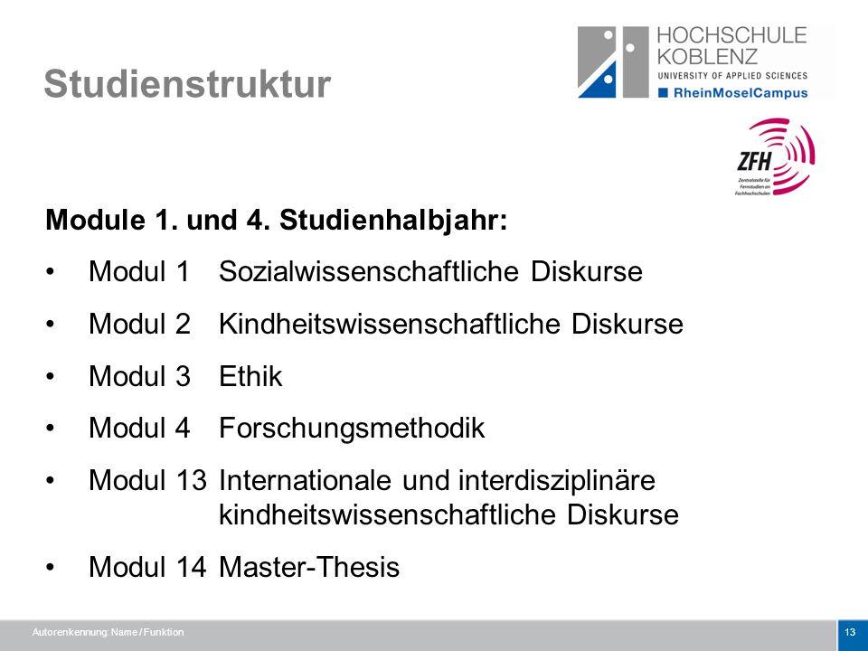 Studienstruktur Module 1. und 4. Studienhalbjahr: Modul 1 Sozialwissenschaftliche Diskurse Modul 2 Kindheitswissenschaftliche Diskurse Modul 3 Ethik M