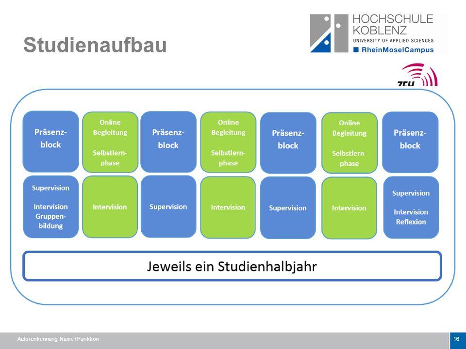 Studienaufbau Autorenkennung: Name / Funktion16