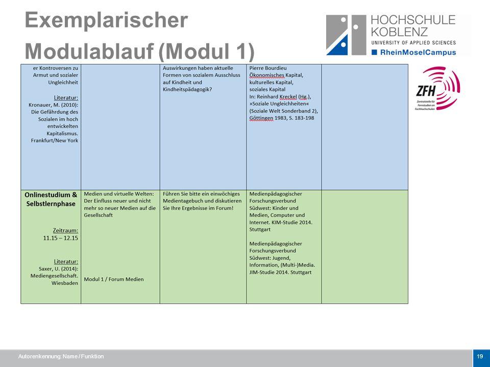 Exemplarischer Modulablauf (Modul 1) Autorenkennung: Name / Funktion19