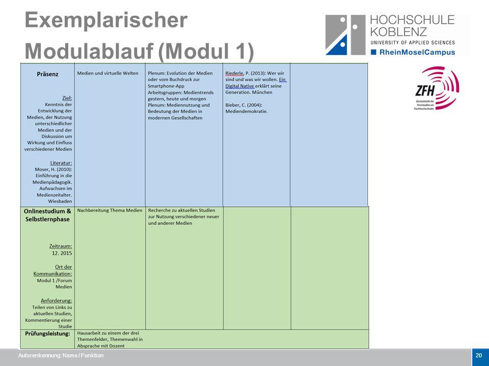 Exemplarischer Modulablauf (Modul 1) Autorenkennung: Name / Funktion20