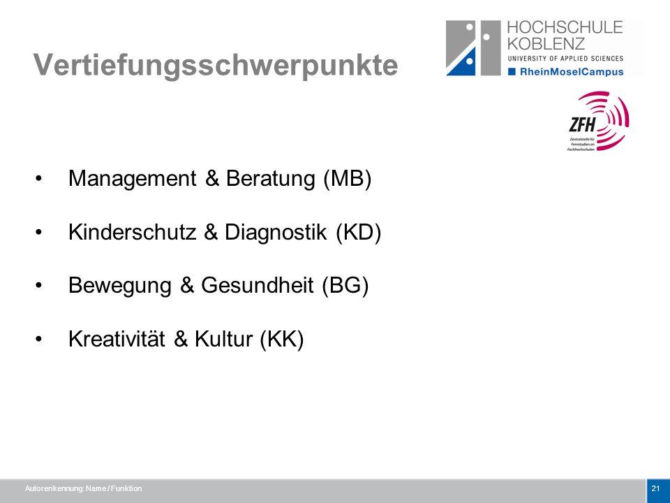 Vertiefungsschwerpunkte Management & Beratung (MB) Kinderschutz & Diagnostik (KD) Bewegung & Gesundheit (BG) Kreativität & Kultur (KK) Autorenkennung: