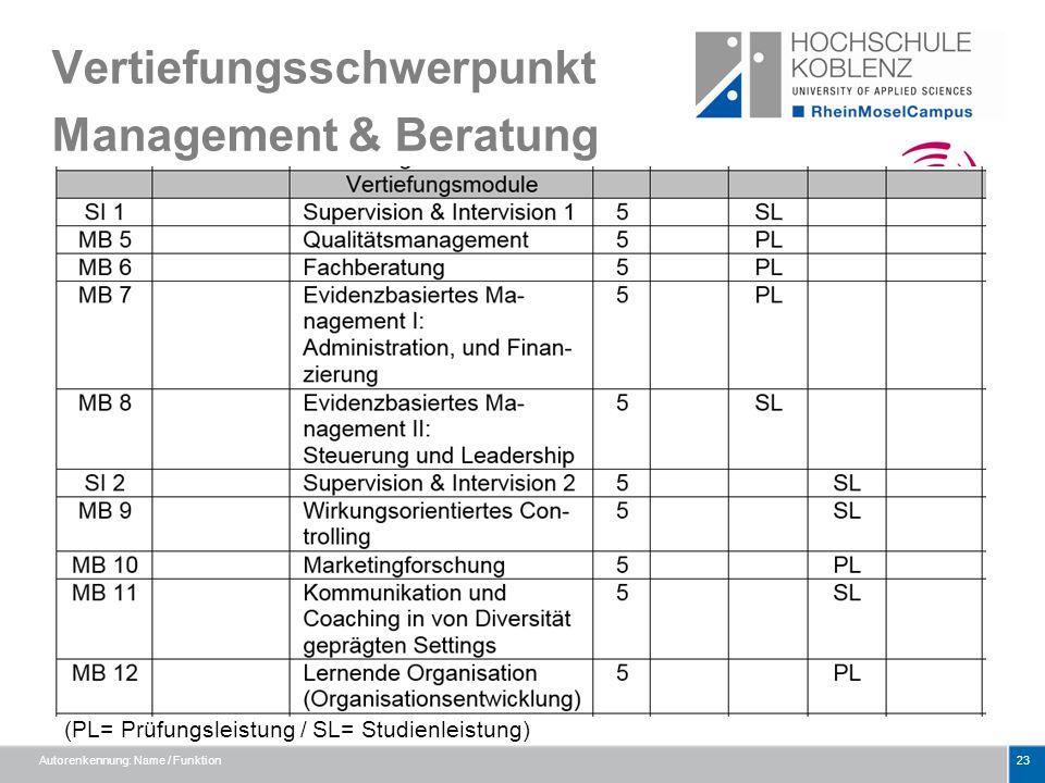 Vertiefungsschwerpunkt Management & Beratung Autorenkennung: Name / Funktion23 (PL= Prüfungsleistung / SL= Studienleistung)