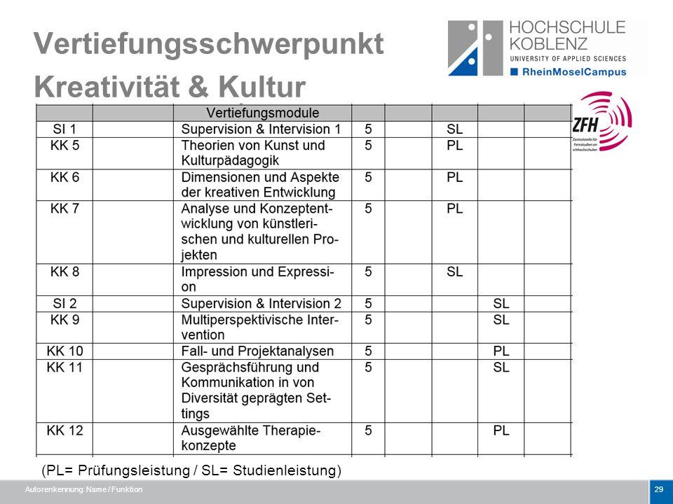 Vertiefungsschwerpunkt Kreativität & Kultur Autorenkennung: Name / Funktion29 (PL= Prüfungsleistung / SL= Studienleistung)