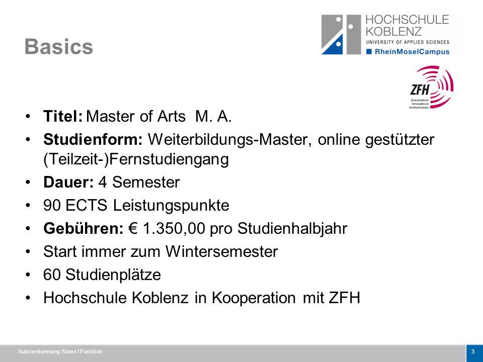 Basics Titel: Master of Arts M. A. Studienform: Weiterbildungs-Master, online gestützter (Teilzeit-)Fernstudiengang Dauer: 4 Semester 90 ECTS Leistung
