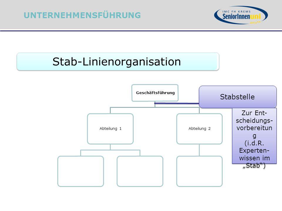 """Stab-Linienorganisation Geschäftsführung Abteilung 1Abteilung 2 Stabstelle Zur Ent- scheidungs- vorbereitun g (i.d.R. Experten- wissen im """"Stab"""") UNTE"""