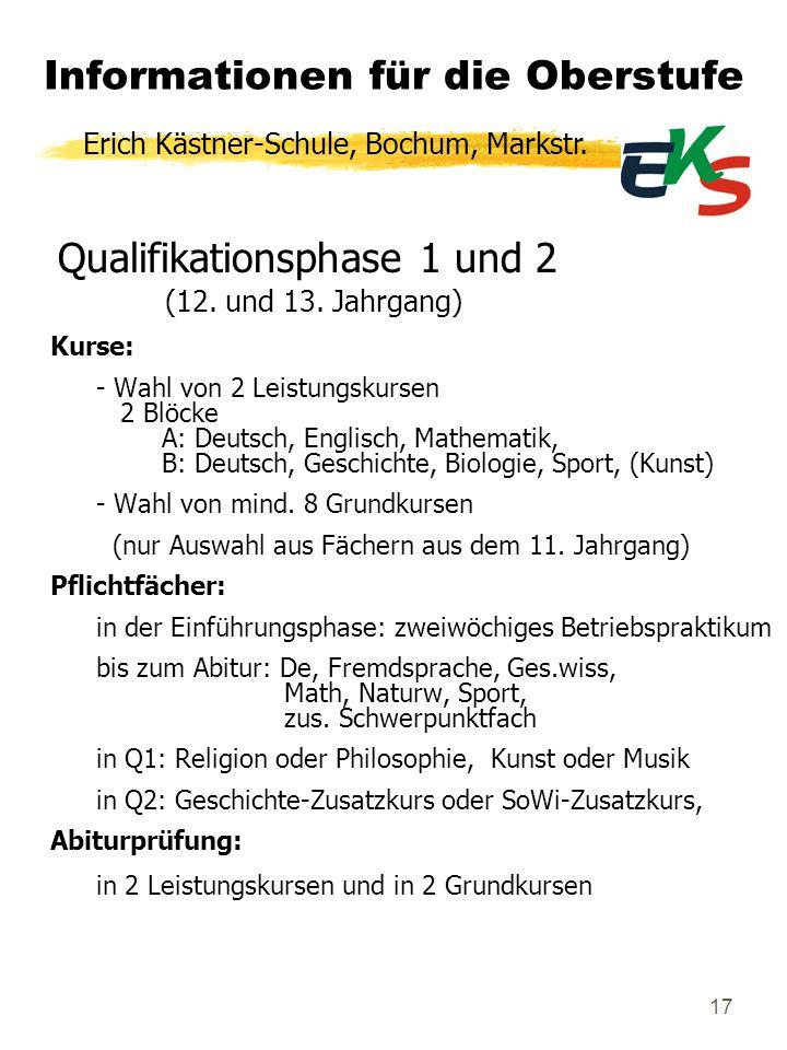 17 Qualifikationsphase 1 und 2 (12. und 13. Jahrgang) Kurse: - Wahl von 2 Leistungskursen 2 Blöcke A: Deutsch, Englisch, Mathematik, B: Deutsch, Gesch