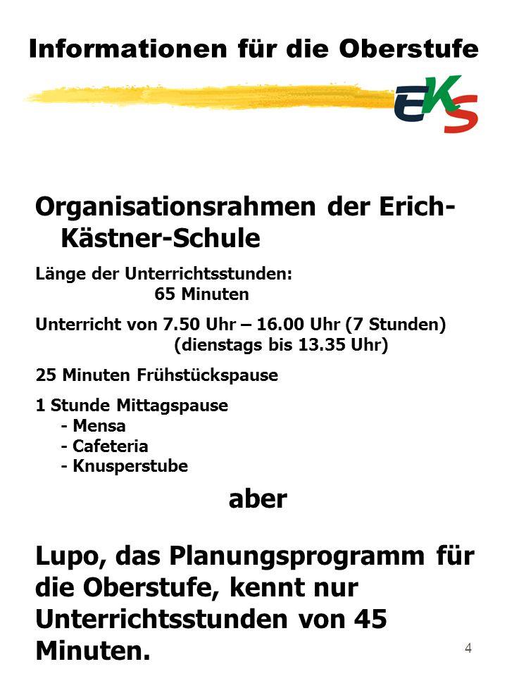 4 Informationen für die Oberstufe Organisationsrahmen der Erich- Kästner-Schule Länge der Unterrichtsstunden: 65 Minuten Unterricht von 7.50 Uhr – 16.