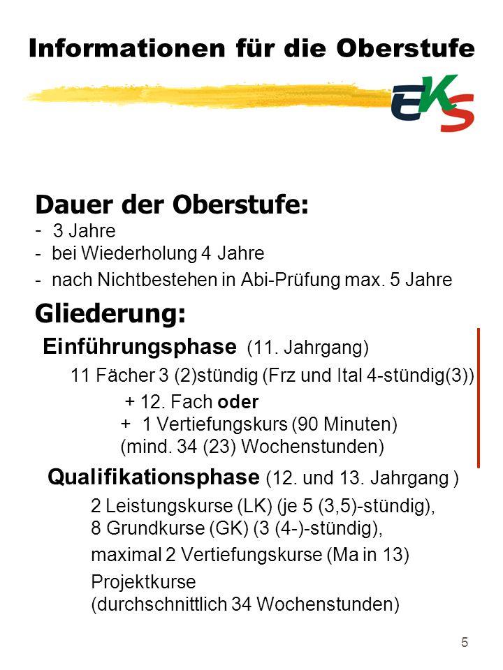 16 Kurse in der Qualifikationsphase: (12.und 13.