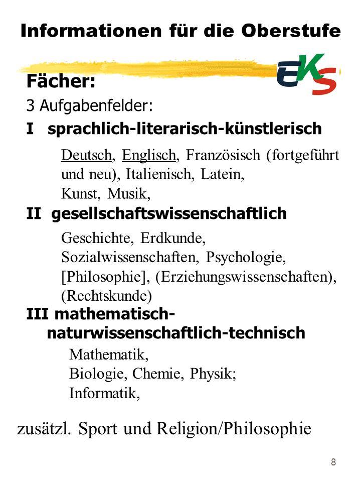 8 Informationen für die Oberstufe Deutsch, Englisch, Französisch (fortgeführt und neu), Italienisch, Latein, Kunst, Musik, Fächer: 3 Aufgabenfelder: I
