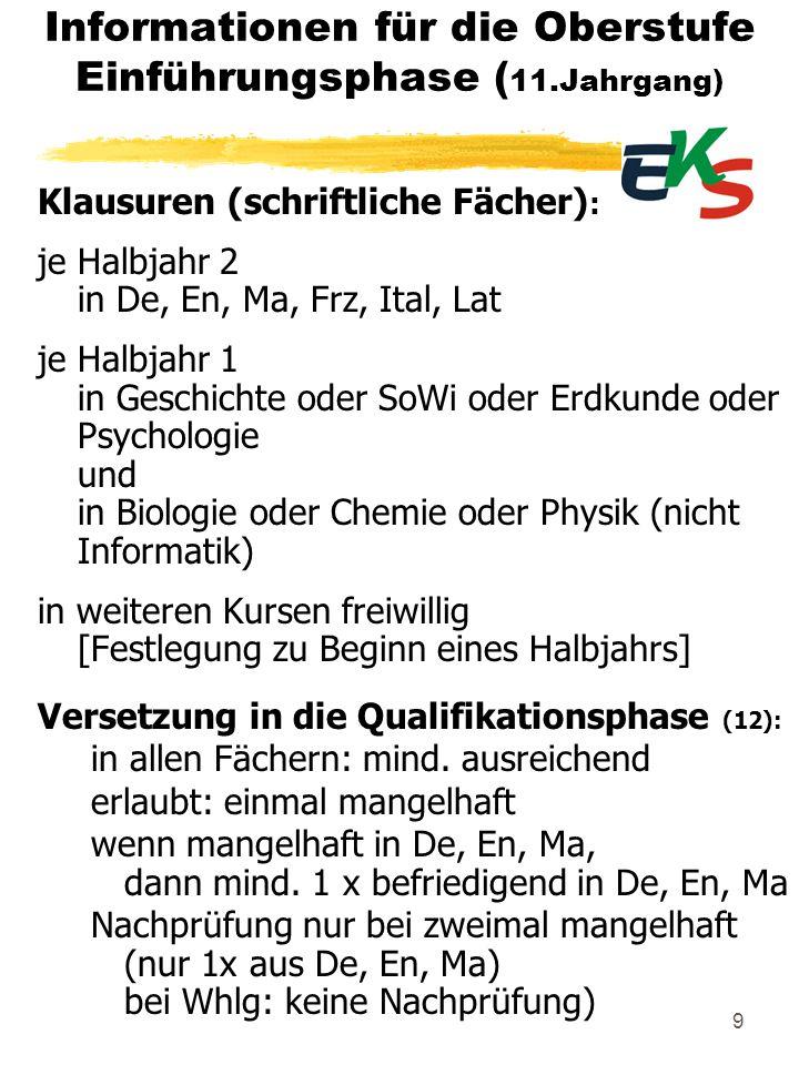 Informationen für die Oberstufe Termine: 7.5.151./2.