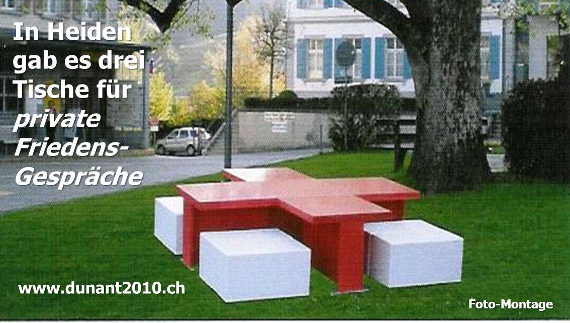 In Heiden gab es drei Tische für privateFriedens-Gespräche Foto-Montage www.dunant2010.ch