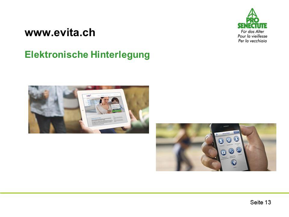 Seite 13 www.evita.ch Elektronische Hinterlegung