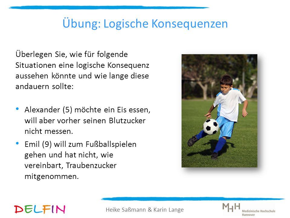 Heike Saßmann & Karin Lange Übung: Logische Konsequenzen Überlegen Sie, wie für folgende Situationen eine logische Konsequenz aussehen könnte und wie