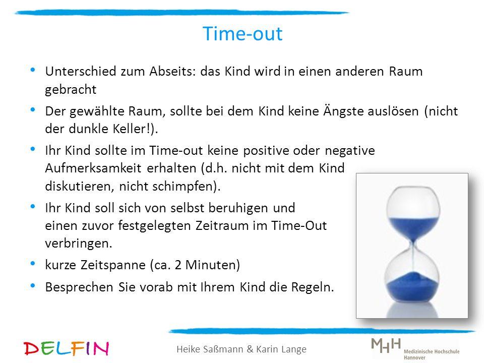 Heike Saßmann & Karin Lange Time-out Unterschied zum Abseits: das Kind wird in einen anderen Raum gebracht Der gewählte Raum, sollte bei dem Kind kein