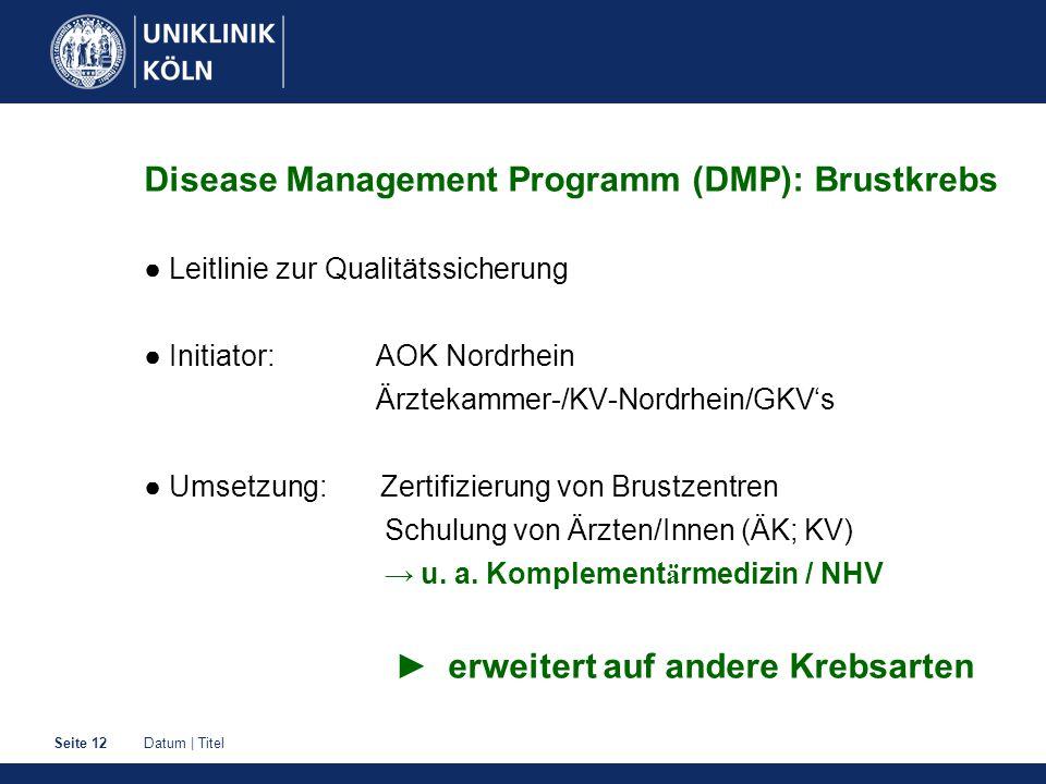 Datum | TitelSeite 12 Disease Management Programm (DMP): Brustkrebs ● Leitlinie zur Qualitätssicherung ● Initiator: AOK Nordrhein Ärztekammer-/KV-Nord