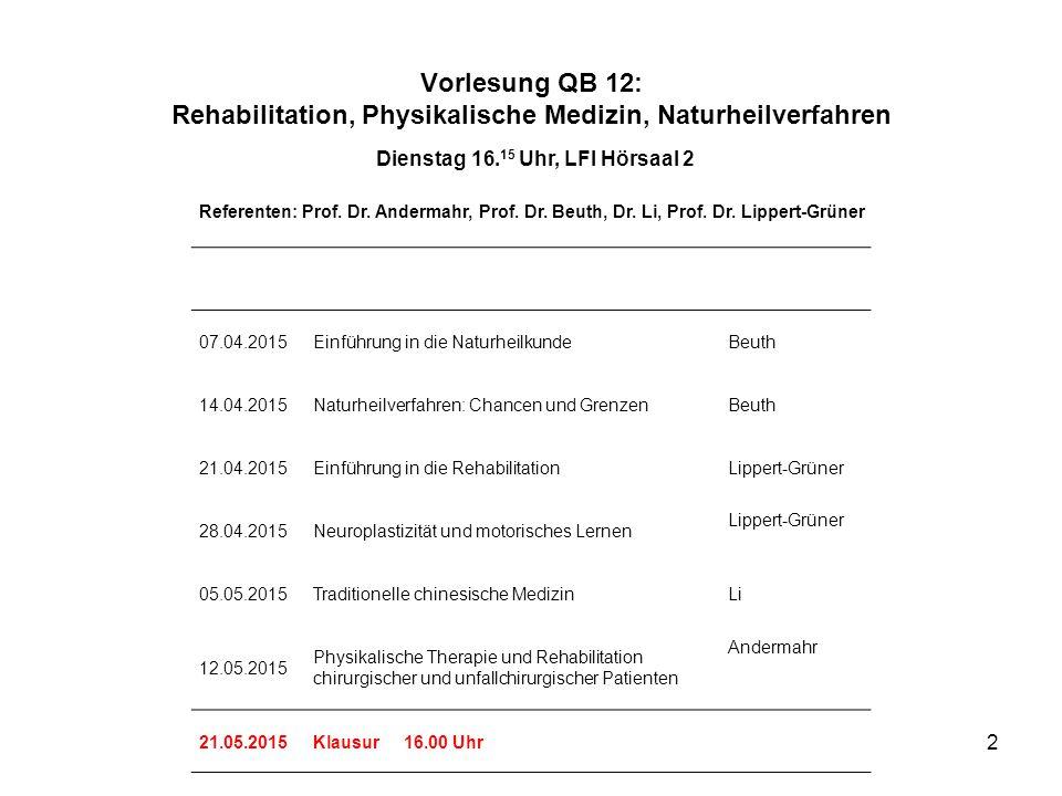2 Vorlesung QB 12: Rehabilitation, Physikalische Medizin, Naturheilverfahren Dienstag 16. 15 Uhr, LFI Hörsaal 2 Referenten: Prof. Dr. Andermahr, Prof.