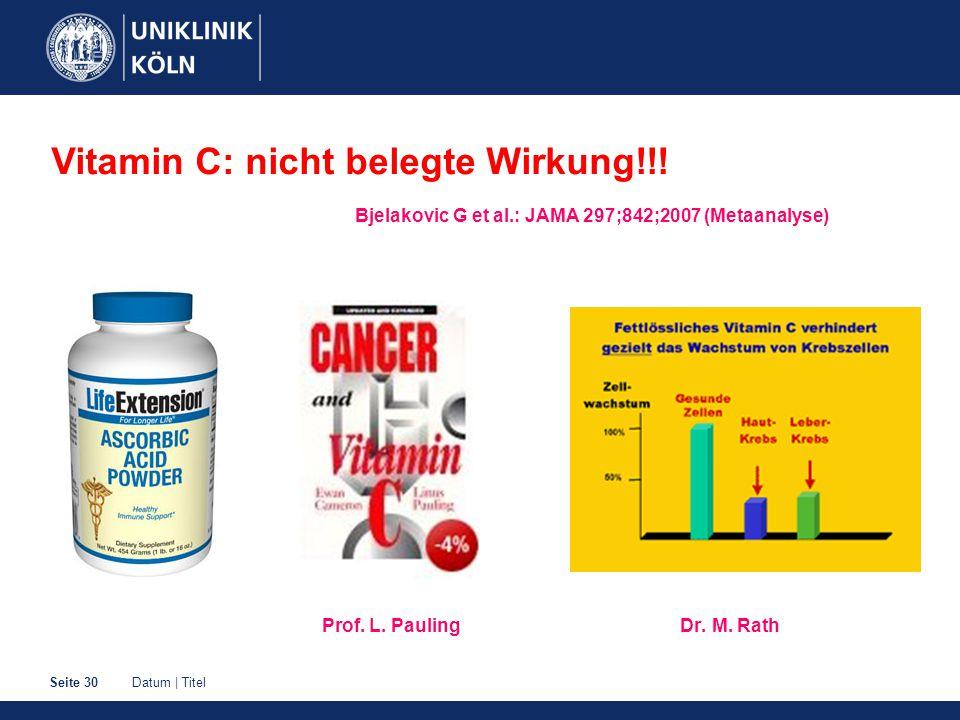 Datum | TitelSeite 30 Prof. L. Pauling Dr. M. Rath Vitamin C: nicht belegte Wirkung!!! Bjelakovic G et al.: JAMA 297;842;2007 (Metaanalyse)