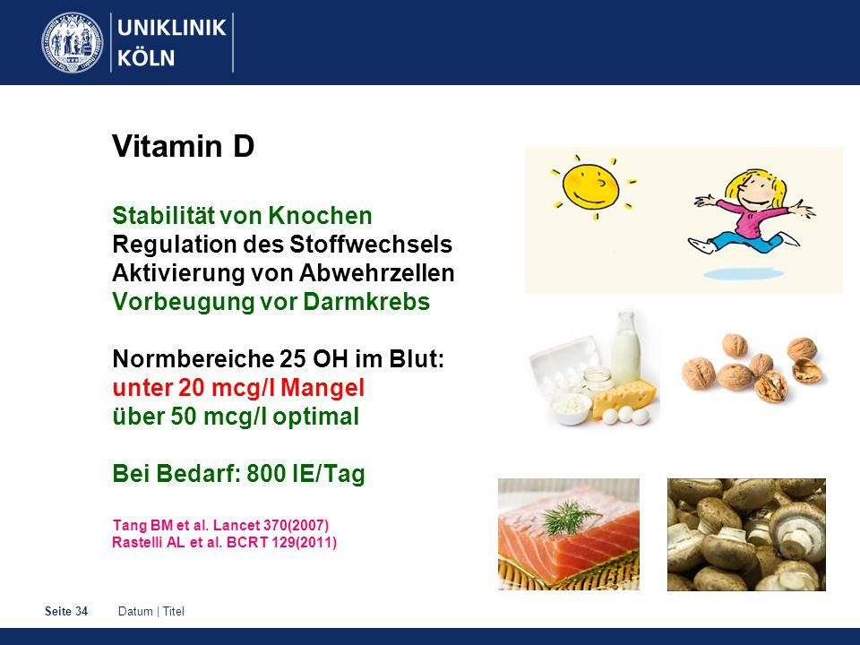 Datum | TitelSeite 34 Vitamin D Stabilität von Knochen Regulation des Stoffwechsels Aktivierung von Abwehrzellen Vorbeugung vor Darmkrebs Normbereiche 25 OH im Blut: unter 20 mcg/l Mangel über 50 mcg/l optimal Bei Bedarf: 800 IE/Tag Tang BM et al.