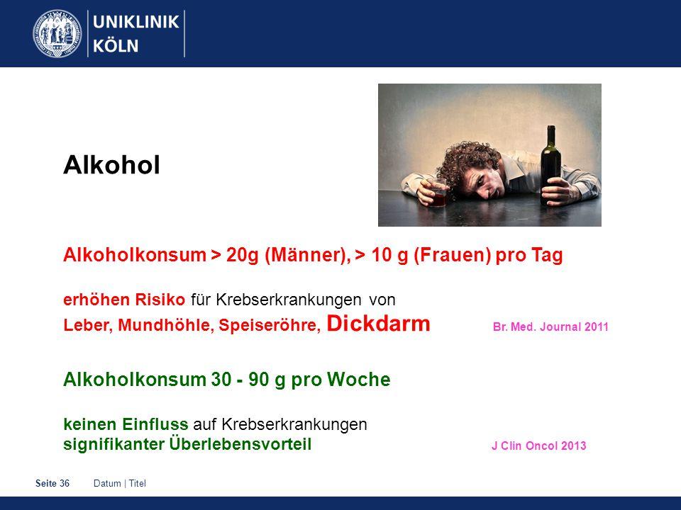 Datum | TitelSeite 36 Alkohol Alkoholkonsum > 20g (Männer), > 10 g (Frauen) pro Tag erhöhen Risiko für Krebserkrankungen von Leber, Mundhöhle, Speiseröhre, Dickdarm Br.