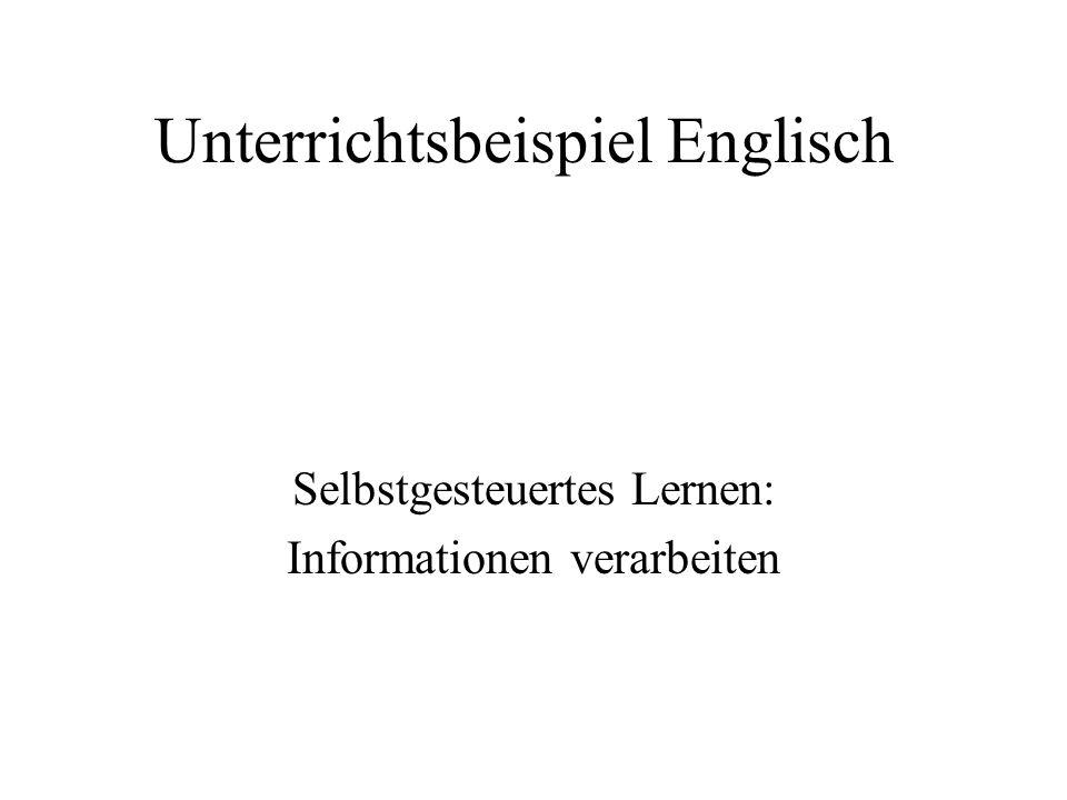 Unterrichtsbeispiel Englisch Selbstgesteuertes Lernen: Informationen verarbeiten