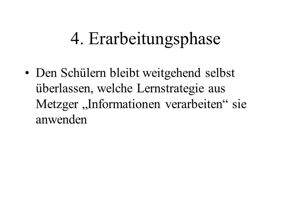 5.Arbeitsergebnisse mitteilen Frei wählbare Präsentationsart z.B.