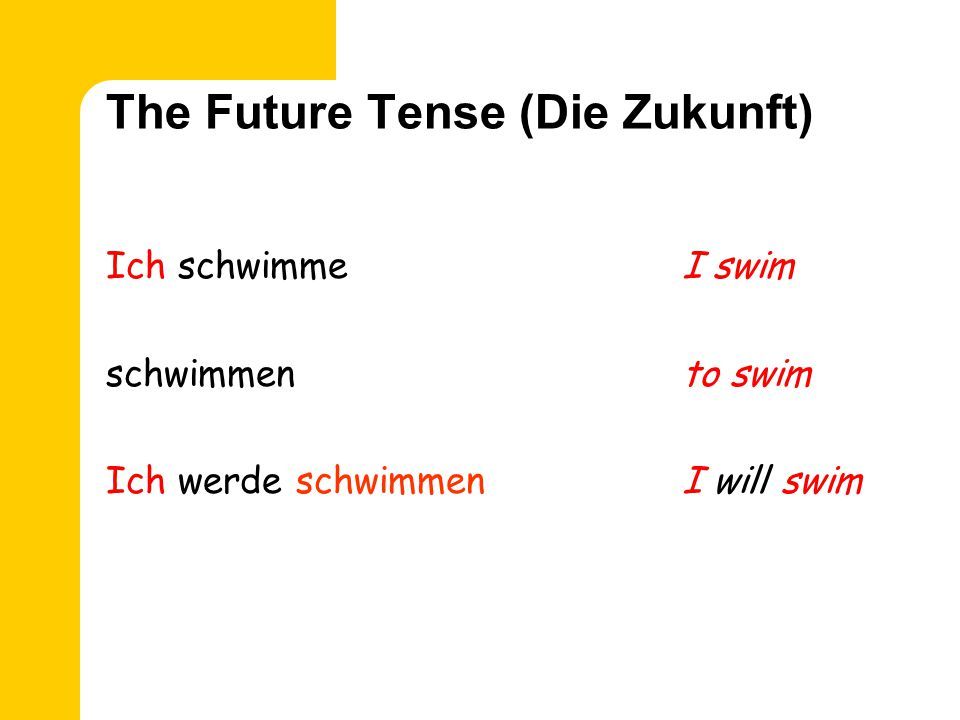 The Future Tense (Die Zukunft) Ich schwimmeI swim schwimmento swim Ich werde schwimmenI will swim