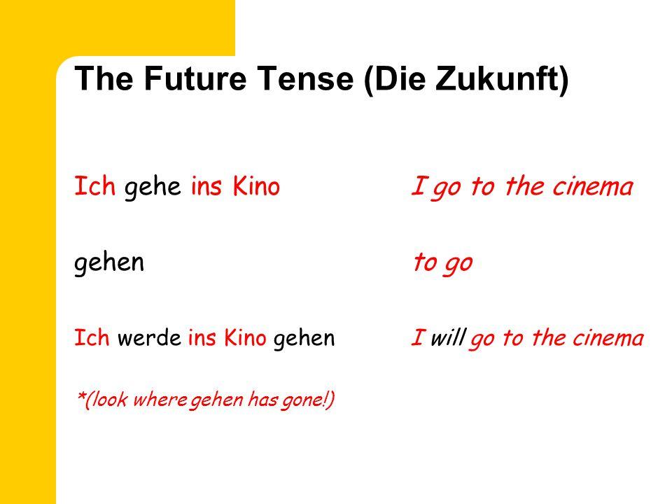 The Future Tense (Die Zukunft) Ich kaufe einI go shopping einkaufento go shopping Ich werde einkaufenI will go shopping