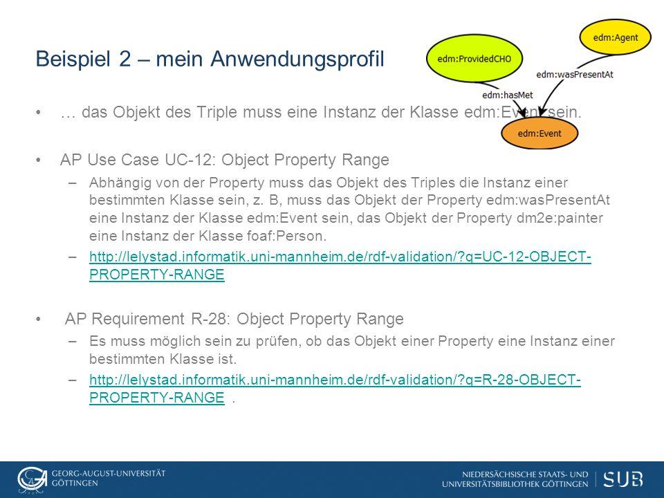 Beispiel 2 – mein Anwendungsprofil … das Objekt des Triple muss eine Instanz der Klasse edm:Event sein.