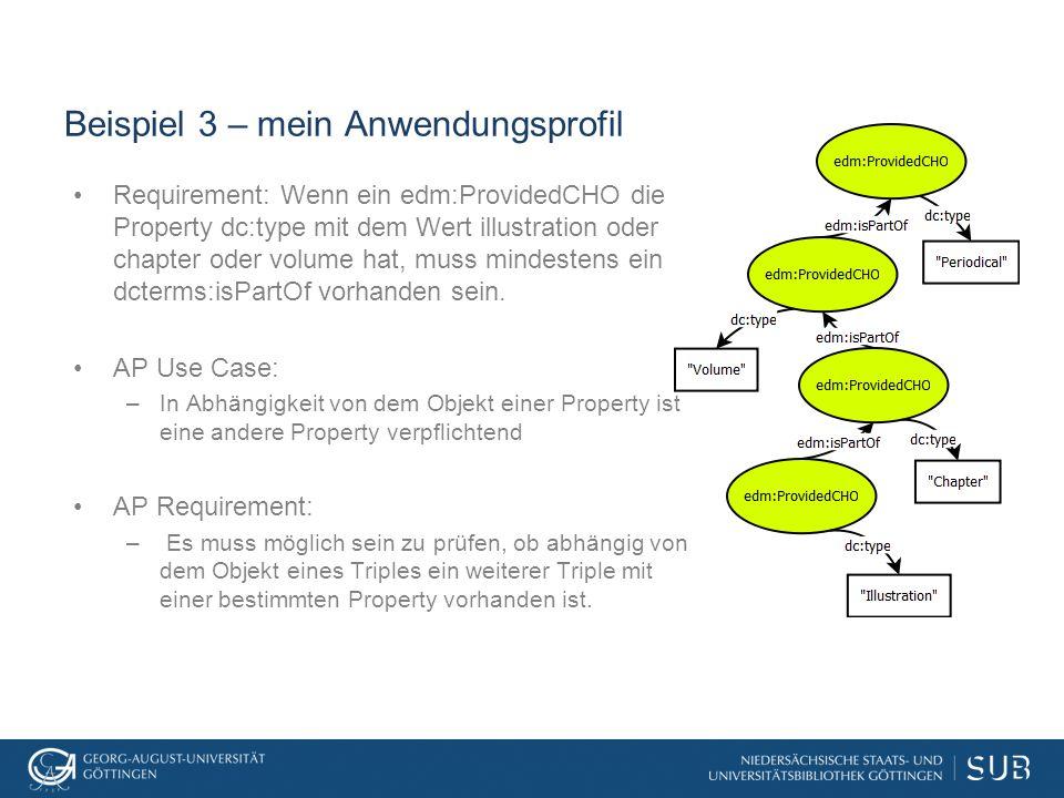 Beispiel 3 – mein Anwendungsprofil Requirement: Wenn ein edm:ProvidedCHO die Property dc:type mit dem Wert illustration oder chapter oder volume hat, muss mindestens ein dcterms:isPartOf vorhanden sein.