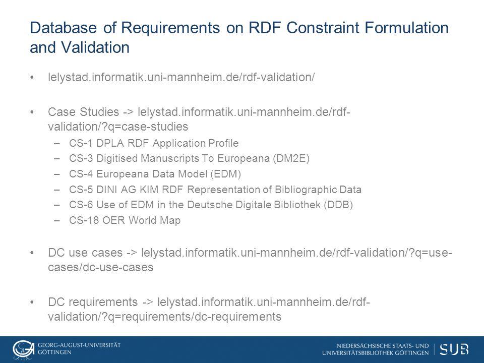 Database of Requirements on RDF Constraint Formulation and Validation lelystad.informatik.uni-mannheim.de/rdf-validation/ Case Studies -> lelystad.informatik.uni-mannheim.de/rdf- validation/?q=case-studies –CS-1 DPLA RDF Application Profile –CS-3 Digitised Manuscripts To Europeana (DM2E) –CS-4 Europeana Data Model (EDM) –CS-5 DINI AG KIM RDF Representation of Bibliographic Data –CS-6 Use of EDM in the Deutsche Digitale Bibliothek (DDB) –CS-18 OER World Map DC use cases -> lelystad.informatik.uni-mannheim.de/rdf-validation/?q=use- cases/dc-use-cases DC requirements -> lelystad.informatik.uni-mannheim.de/rdf- validation/?q=requirements/dc-requirements