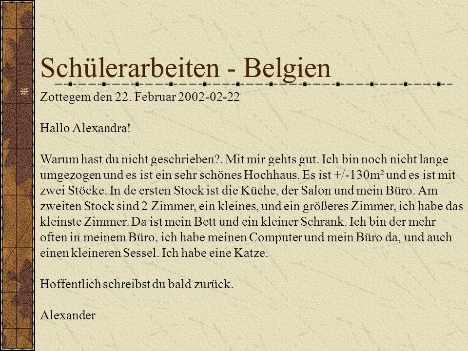 Schülerarbeiten - Belgien Zottegem den 22.Februar 2002-02-22 Hallo Alexandra.