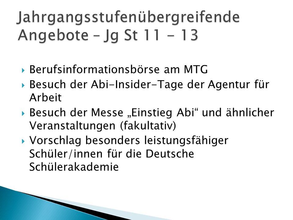 """ Berufsinformationsbörse am MTG  Besuch der Abi-Insider-Tage der Agentur für Arbeit  Besuch der Messe """"Einstieg Abi"""" und ähnlicher Veranstaltungen"""