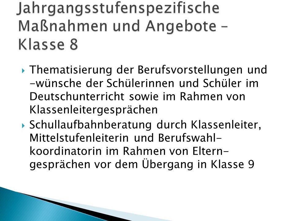  Thematisierung der Berufsvorstellungen und -wünsche der Schülerinnen und Schüler im Deutschunterricht sowie im Rahmen von Klassenleitergesprächen 
