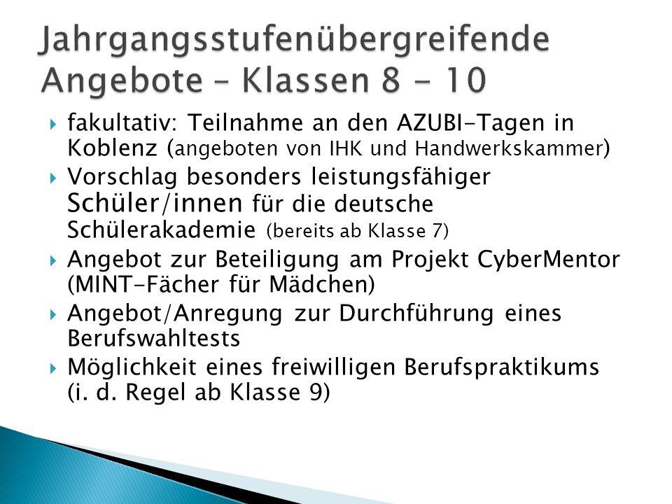  fakultativ: Teilnahme an den AZUBI-Tagen in Koblenz ( angeboten von IHK und Handwerkskammer )  Vorschlag besonders leistungsfähiger Schüler/innen f