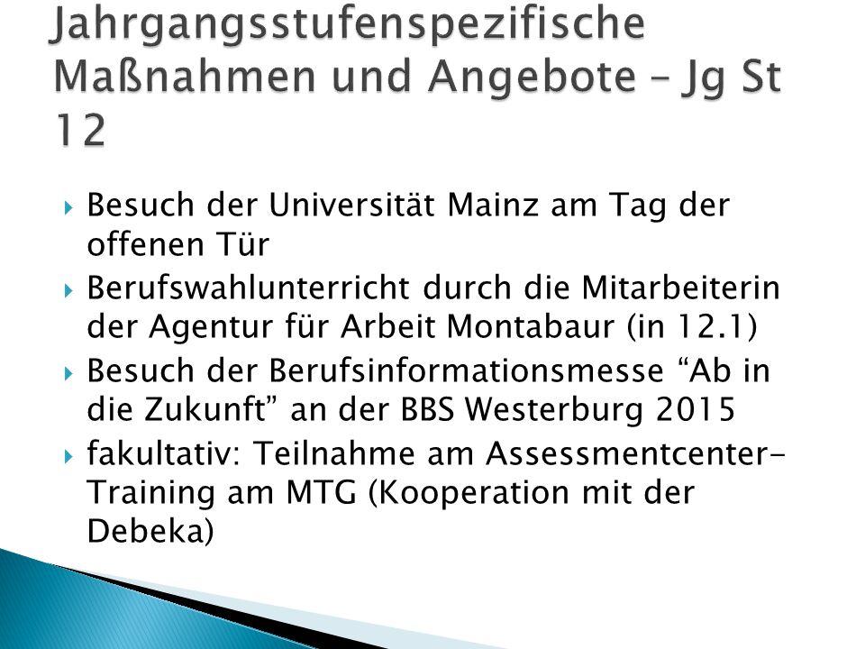  Besuch der Universität Mainz am Tag der offenen Tür  Berufswahlunterricht durch die Mitarbeiterin der Agentur für Arbeit Montabaur (in 12.1)  Besu
