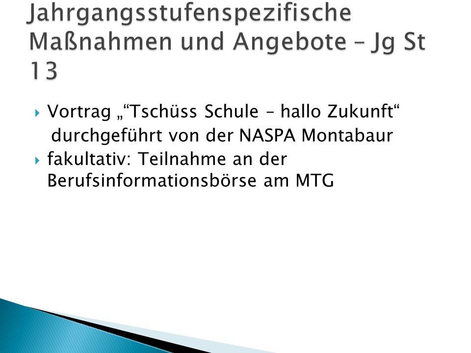 """ Vortrag """"""""Tschüss Schule – hallo Zukunft"""" durchgeführt von der NASPA Montabaur  fakultativ: Teilnahme an der Berufsinformationsbörse am MTG"""