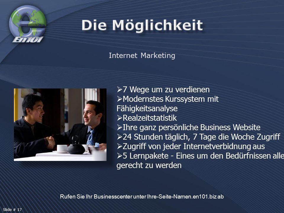  7 Wege um zu verdienen  Modernstes Kurssystem mit Fähigkeitsanalyse  Realzeitstatistik  Ihre ganz persönliche Business Website  24 Stunden tägli