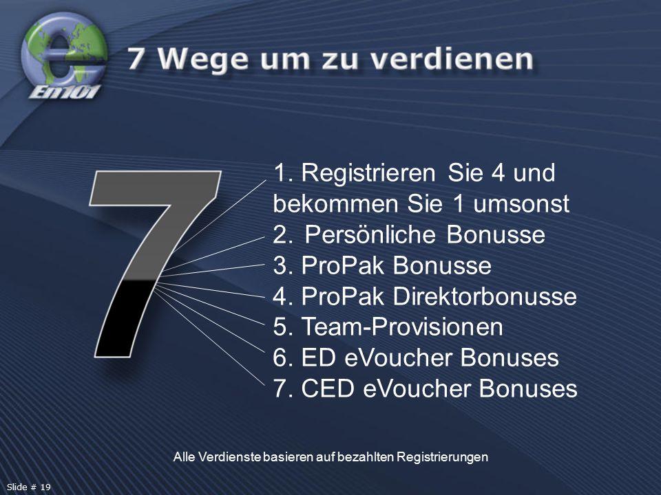 Alle Verdienste basieren auf bezahlten Registrierungen 1. Registrieren Sie 4 und bekommen Sie 1 umsonst 2. Persönliche Bonusse 3. ProPak Bonusse 4. Pr